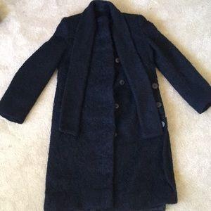 VTG 100% Wool Long Trench Coat Black M